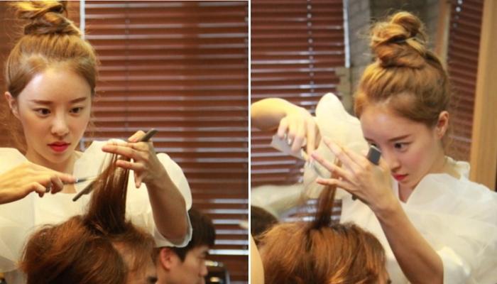 *脱毛をカバーするカットで人気を集めている美人美容師エルさん (出典:insight.co.kr)