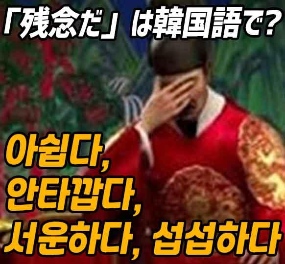 「残念だ」は韓国語で「아쉽다, 안타깝다, 서운하다, 섭섭하다」どれ?